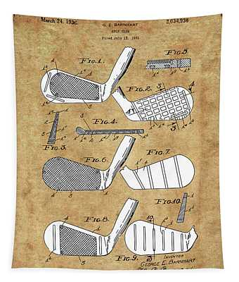 Golf Club Patent Drawing Vintage 3 Tapestry