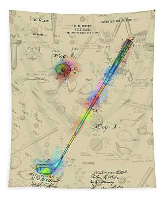 Golf Club Patent Drawing Watercolor 2  Tapestry