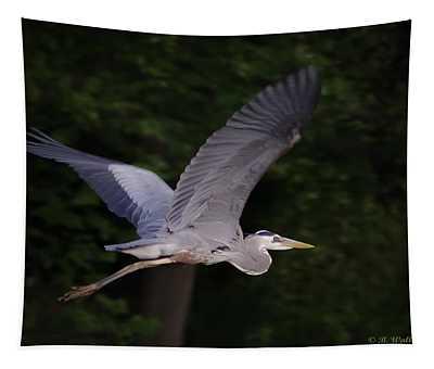 Great Blue Heron In Flight Tapestry