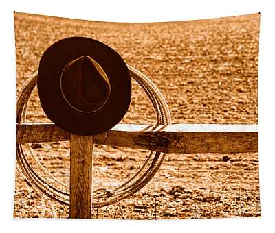 Hat And Lasso On Fence - Sepia Tapestry