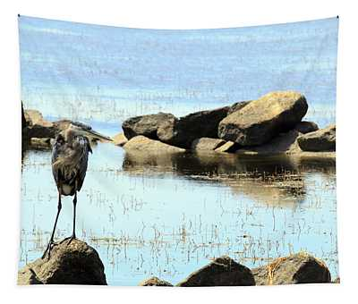 Heron On The Rocks Tapestry