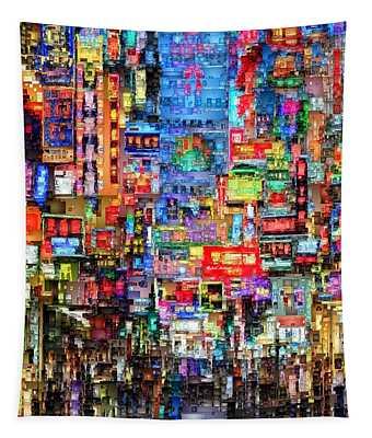 Hong Kong City Nightlife Tapestry