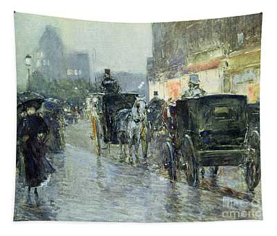 Horse Drawn Cabs At Evening In New York Tapestry