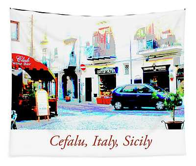 Italian City Street Scene Digital Art Tapestry
