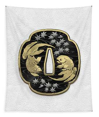 Japanese Katana Tsuba - Twin Gold Fish On Black Steel Over White Leather Tapestry