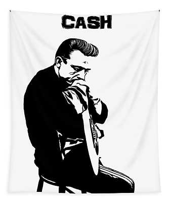 Johnny Cash Black And White Tapestry
