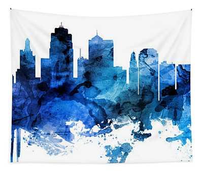 Kansas City Missouri Skyline Custom Panoramic Tapestry