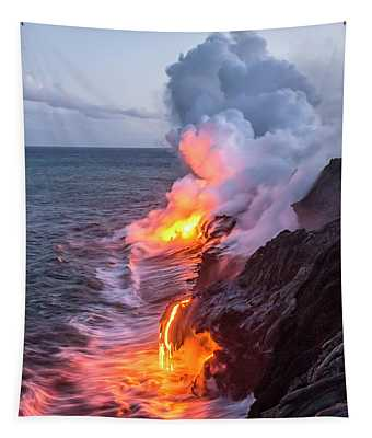 Kilauea Volcano Lava Flow Sea Entry 7 - The Big Island Hawaii Tapestry