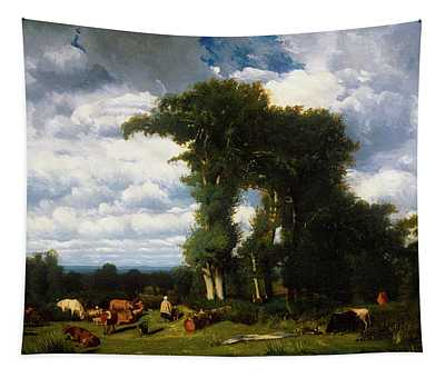 Landscape With Cattle At Limousin Tapestry