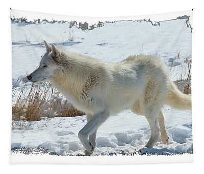 Lone White Wolf Tapestry