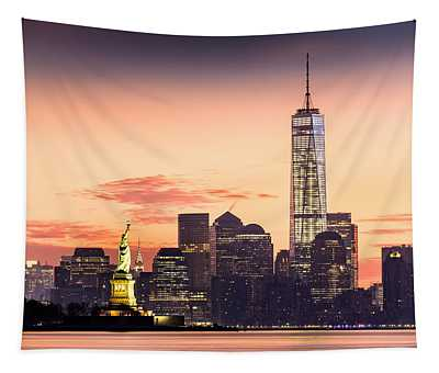 Lower Manhattan And The Statue Of Liberty At Sunrise Tapestry