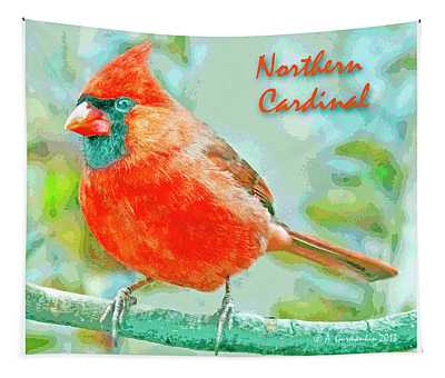 Male Cardinal On Tree Branch Tapestry