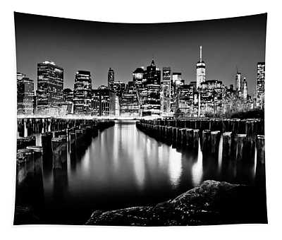 Manhattan Skyline At Night Tapestry