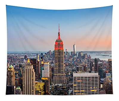 New York Skyline Panorama Tapestry