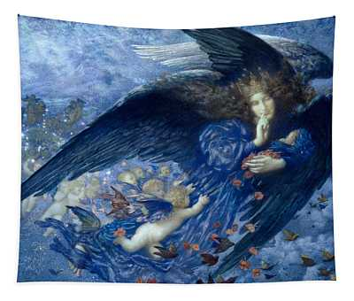 Night With Her Train Of Stars Tapestry