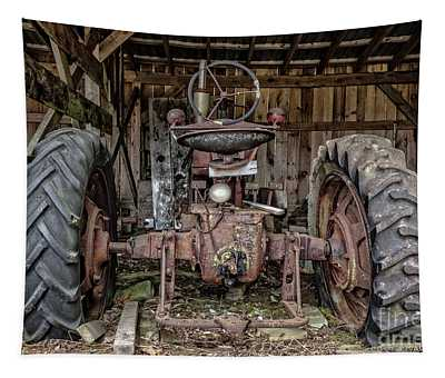 Old Tractor In The Barn Tapestry