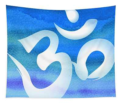 Om Symbol. Blue And White Tapestry