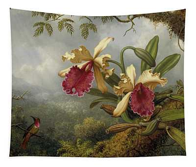 Orchids And Hummingbird Tapestry
