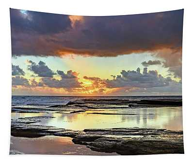 Overcast And Cloudy Sunrise Seascape Tapestry