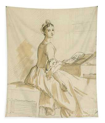 Portrait Of A Lady At A Drawing Table Tapestry
