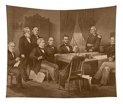 President Lincoln - His Cabinet And General Scott Tapestry