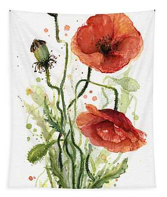Red Poppies Watercolor Tapestry