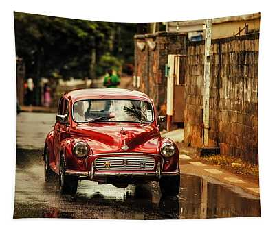 Red Retromobile. Morris Minor Tapestry