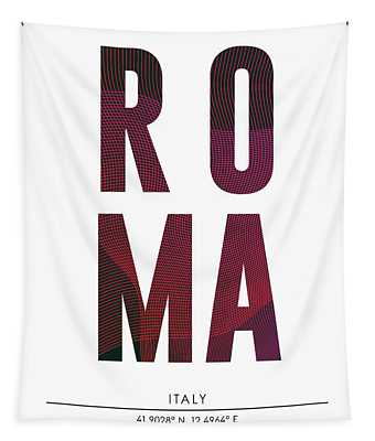 Roma, Italy - City Name Typography - Minimalist City Posters Tapestry