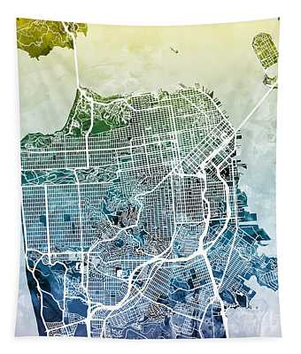 San Francisco City Street Map Tapestry