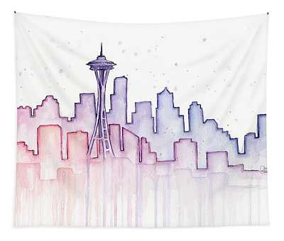 Seattle Skyline Watercolor Tapestry