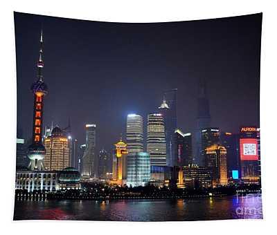 Shanghai China Skyline At Night From Bund Tapestry