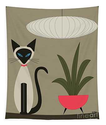 Siamese Cat On Tabletop Tapestry