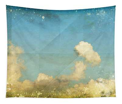 Sky And Cloud On Old Grunge Paper Tapestry