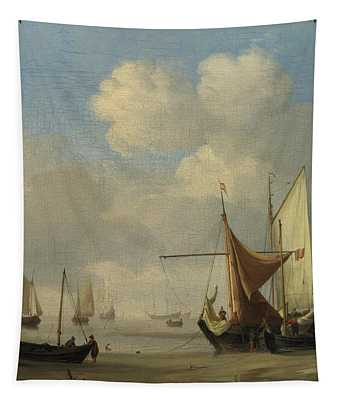 Small Dutch Vessels Aground At Low Water In A Calm Tapestry