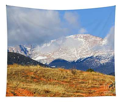 Snow Capped Pikes Peak Colorado Tapestry