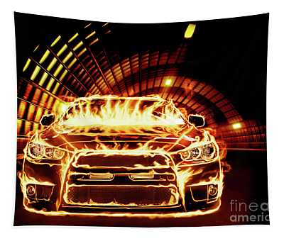 Sports Car In Flames Tapestry