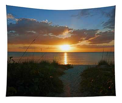 Sunset At Delnor Wiggins Pass State Park Tapestry