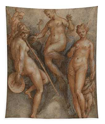 Three Goddesses, Minerva, Juno And Venus Tapestry