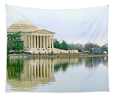 Tidal Basin With Cherry Blossoms Tapestry