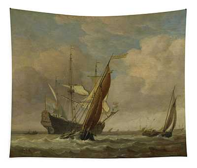 Two Small Vessels And A Dutch Man-of-war In A Breeze Tapestry