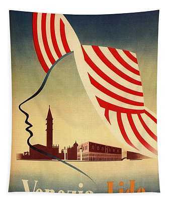 Venezia Lido, Venice, Italy - Retro Travel Poster - Vintage Poster Tapestry