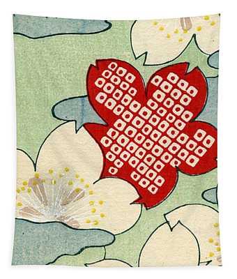 Vintage Japanese Illustration Of Dogwood Blossoms Tapestry