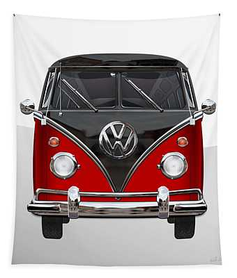 Volkswagen Type 2 - Red And Black Volkswagen T 1 Samba Bus On White  Tapestry