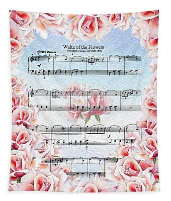 Waltz Of The Flowers Pink Roses Tapestry