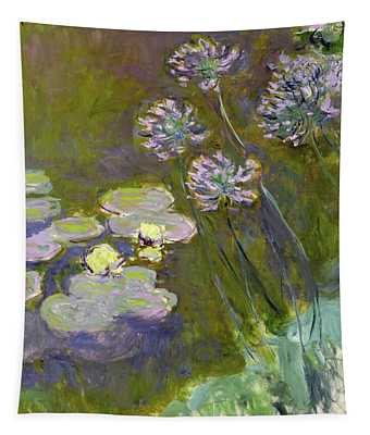 Waterlilies And Agapanthus Tapestry