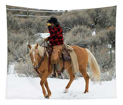 Winter Cowboy Tapestry