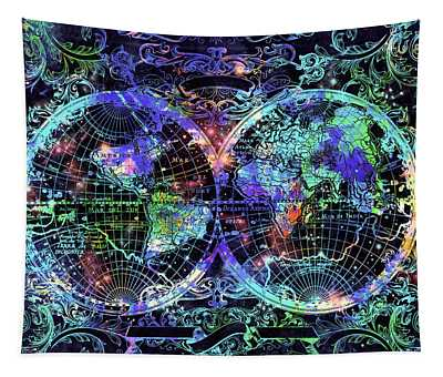 World Map Antique 12 Tapestry