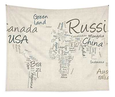 Writing Text Map Of The World Map Tapestry by Michael Tompsett