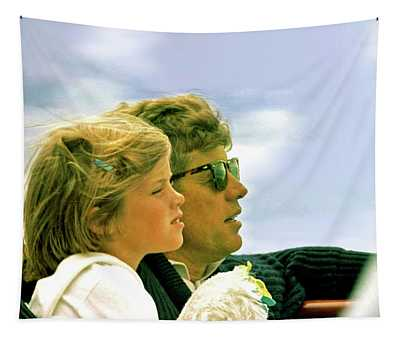 Yachting With John F. Kennedy And Caroline, Cape Cod, Ma Tapestry