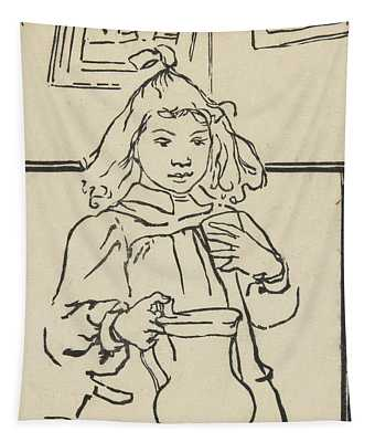 Young Girl With A Pitcher Tapestry